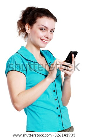 Beauty smiling woman using and reading a woman using isolated on a white background