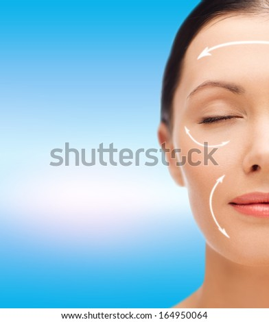 beauty, spa and health concept - relaxed young woman with closed eyes - stock photo