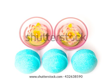 Beauty spa, bath bomb, aroma cosmetic soap with candles. Natural aromatherapy ball for care, wellness, health, treatment, hygiene, relaxation. Relax bathroom. Object for luxury therapy - stock photo