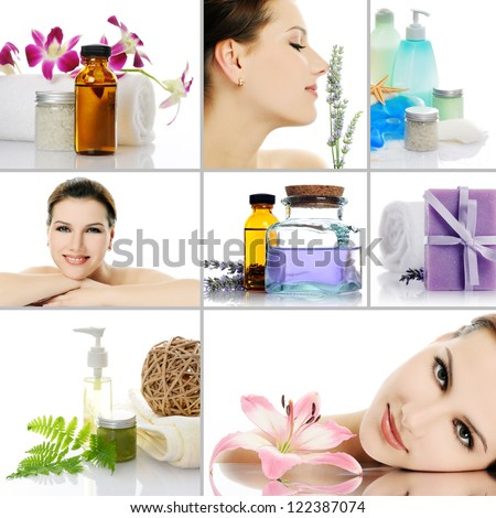 beauty spa collage - stock photo