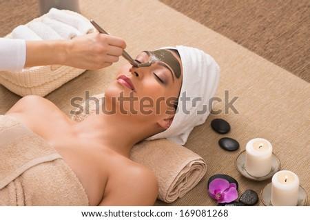 Beauty Spa Treatment With Facial Mask - stock photo