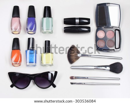 beauty still life cosmetics.make-up.female accessories  - stock photo