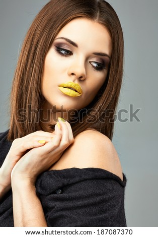 Beauty studio. Model posing. Young woman. - stock photo