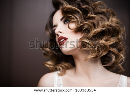 Beauty styled closeup portrait of a young woman - stock photo