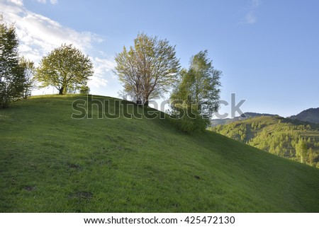 Beauty summer day on the green hills - stock photo