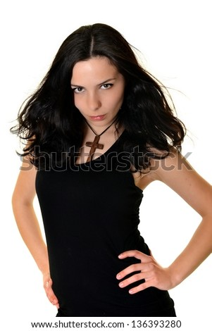 Beauty Surprised Brunette Woman isolated on White background. - stock photo