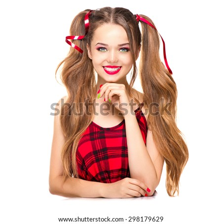 Beauty Surprised Fashion Model Girl Smiling Stock Photo 298179629 Shutterstock