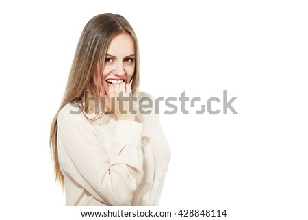 Beauty teenage model girl portrait. Sneaky, sly, scheming young woman face expression. human emotions. Isolated on white