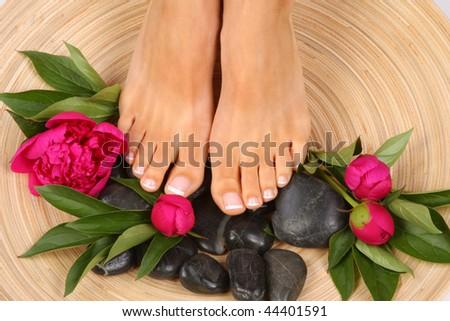 Beauty treatment photo of nice feet - stock photo