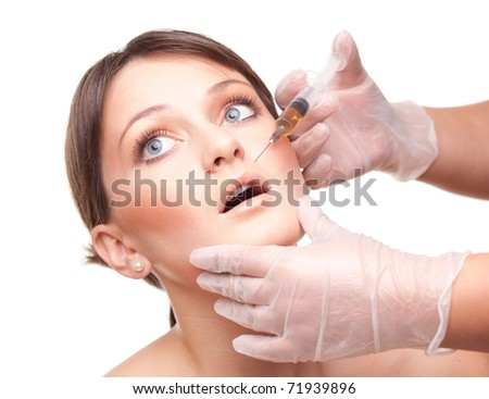 Beauty treatment. White  background.