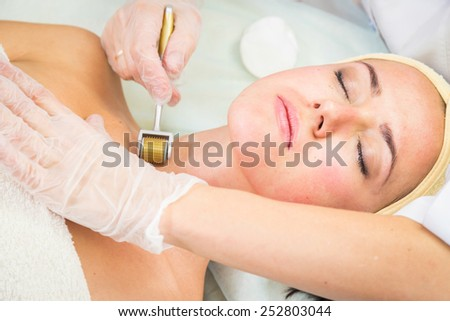 Beauty treatments in the beauty salon. Beautician revitalizing facial. Facial massage. Beauty, facial, beautician.
