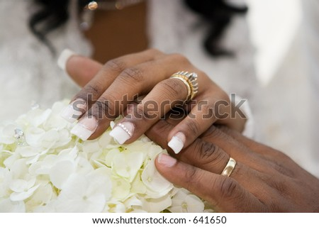 Beauty up-close as this bride's and groom show their hands adjoined with rings