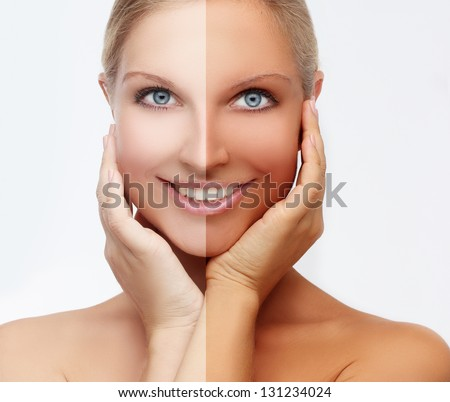 Beauty visual about suntan. Model's face divided in two parts - tanned(solarium,spray tanning) and natural. - stock photo