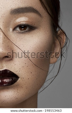 Beauty Vogue Style Fashion Chinese Model Girl with Dark lips. Fashion Trendy Make-up