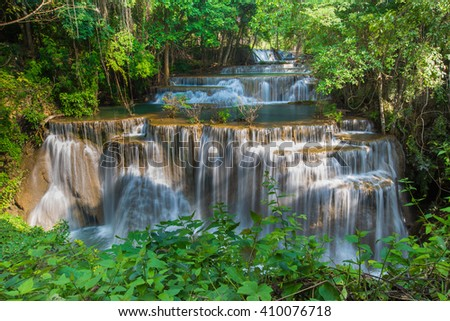 Beauty Waterfall in deep forest national park of Thailand - stock photo