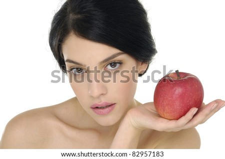 Beauty with red apple-close up