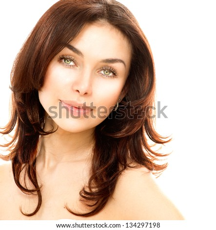 Beauty Woman. Beautiful Young Female Portrait isolated on White Background. Healthcare. Perfect Skin. Beauty Face. Professional Nude Makeup