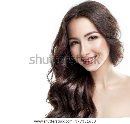 Beauty Woman. Beautiful Young Female with long healthy hair. Portrait isolated on White Background. Healthcare. Perfect Skin. Beauty fresh Face. - stock photo