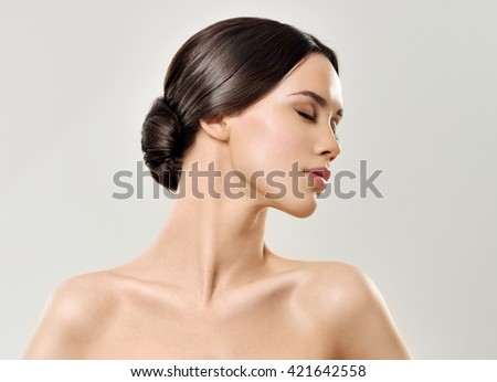 Beauty Woman. Beautiful Young. Healthcare. Perfect Skin. - stock photo