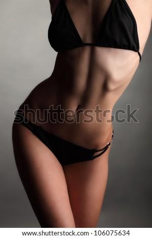 beauty  woman body in swimsuit - stock photo