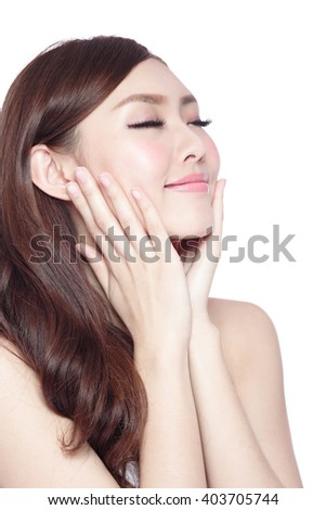 Beauty woman charming smile and relax closed eye enjoy with health skin and hair isolated on white background, asian beauty - stock photo