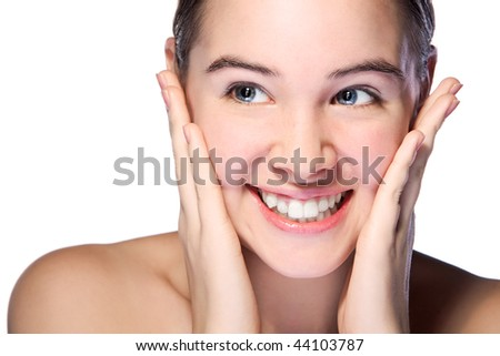 beauty woman closeup portrait isolated on white background