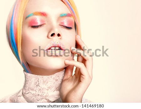 beauty woman face multy color professional make-up and hairstyle - stock photo