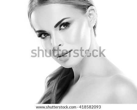 Beauty Woman face Portrait. Black and white. Beautiful model Girl with Perfect Fresh Clean Skin. Youth and Skin Care Concept.