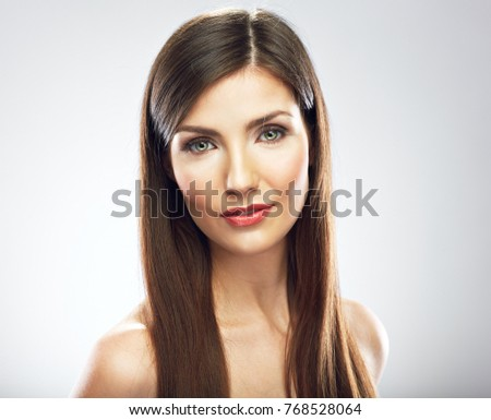 Beauty woman face portrait. Close up girl with long hair isolated portrait.