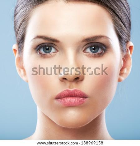 Beauty Woman face surgery close up portrait. Female model. - stock photo