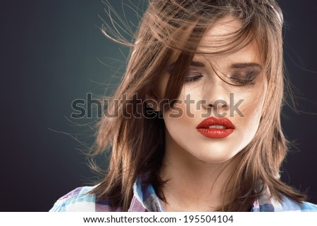Beauty woman face with closed eyes. Long hair.