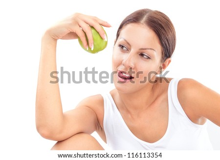 Beauty woman holding apple, isolated on white - stock photo