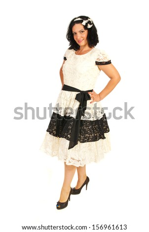 Beauty woman in elegant lace dress isolated on white background