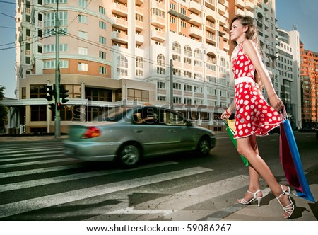 beauty woman in the city at summer time
