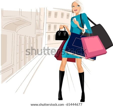 beauty woman om shopping in the city - stock photo