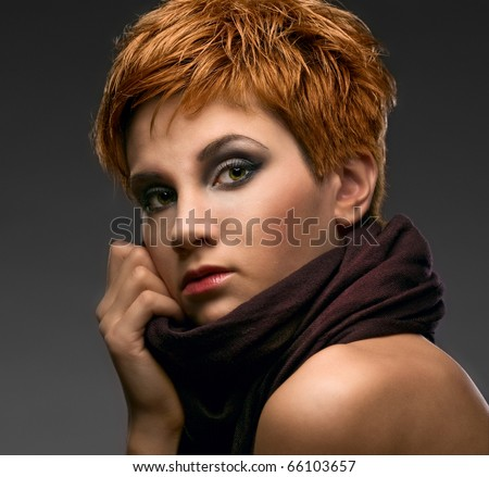 beauty woman on gray background - stock photo
