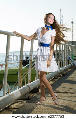 beauty woman on sea with ship