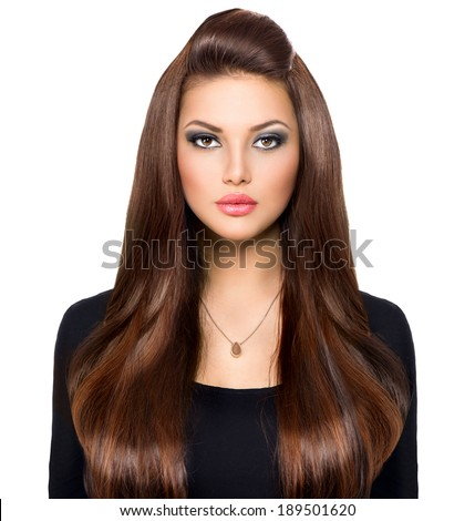 Beauty Woman Portrait. Beautiful Girl looking at camera. Long Healthy and Shiny Smooth Brown Hair. Front view Model Brunette Girl over white background. Beautiful make up. Hair Extensions  - stock photo