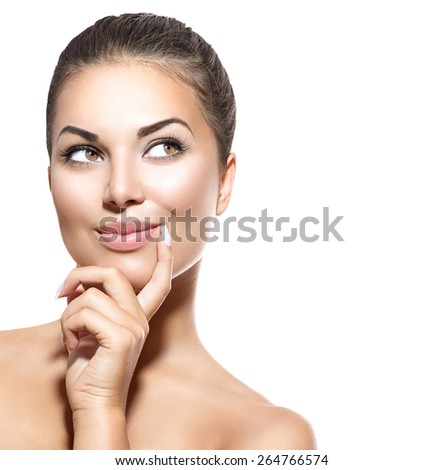 Beauty Woman Portrait. Beautiful Spa Girl thinking and looking Up. Surprised Woman choosing. Isolated on white background. Fresh Clean Skin. Skin Care Concept - stock photo