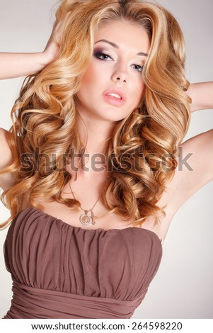 Blonde Girl Hairstyle : Portrait beautiful blonde woman healthy long stock photo 113045209