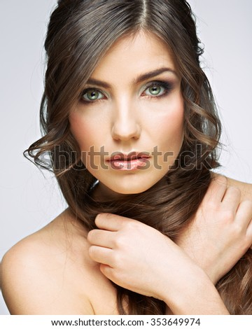 Beauty woman portrait crossed arms. Close up face.Female model studio posing. - stock photo