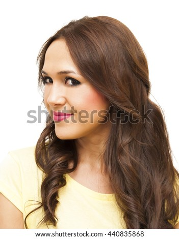 Beauty Woman Portrait  Isolated over White Background