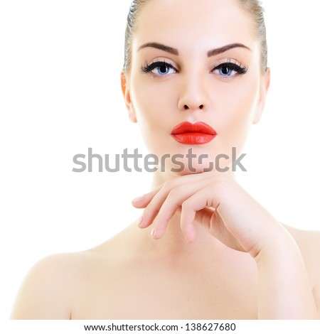 beauty woman, portrait of girl holding hand near her face with beautiful makeup, isolated on white background - stock photo