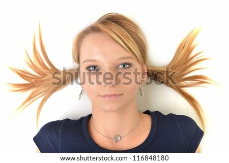 beauty woman portrait of teen girl beautiful cheerful enjoying with long blond hair and clean skin isolated on white background - stock photo