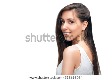 beauty woman portrait of teen girl beautiful cheerful enjoying with long brown hair and fresh clean skin isolated on white background.