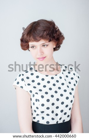 beauty woman portrait of teen girl beautiful cheerful enjoying with short brown hair and clean skin isolated on white background - stock photo