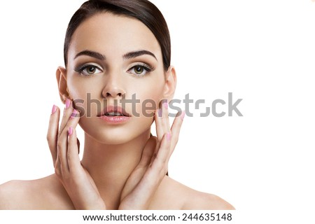 Beauty woman portrait of teen girl with clean skin / photo-composition of brunette girl  - isolated on white background  - stock photo