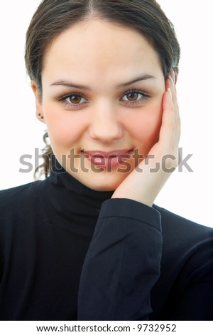 beauty woman portrait on white background