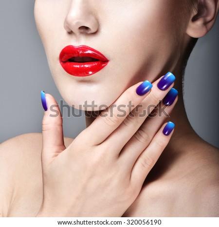 Beauty Woman Portrait. Professional Makeup. Red Lipstick. Beautiful Fashion Model Girl Face. Beauty Red Lip. Perfect manicure. - stock photo