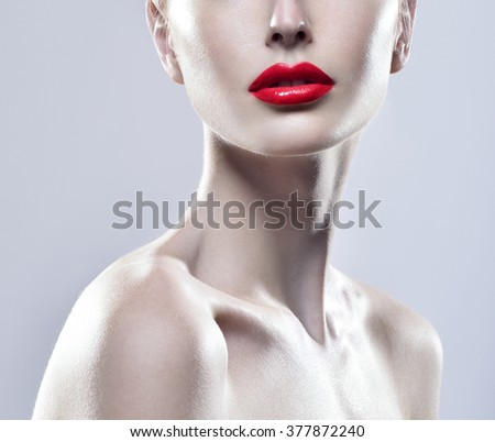 Beauty Woman Portrait. Professional Makeup. Red Lipstick. Beautiful Fashion Model Girl Face. Beauty Red Lip. - stock photo